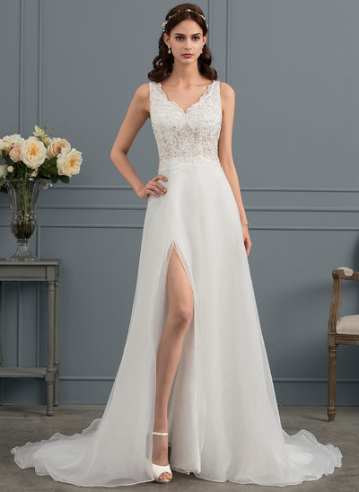 A-Line/Princess V-neck Sweep Train Organza Wedding Dress With Sequins Split Front