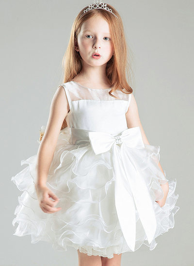 A-Line/Princess Knee-length Flower Girl Dress - Tulle Sleeveless Scoop Neck With Lace/Bow(s)