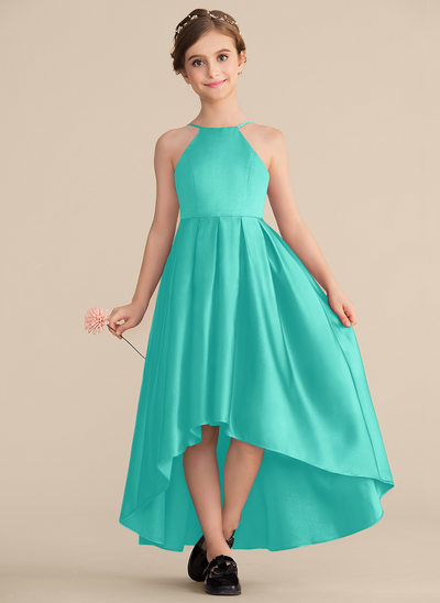 A-Line/Princess Scoop Neck Asymmetrical Satin Junior Bridesmaid Dress With Ruffle