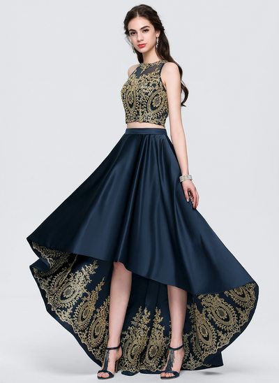 A-Line Scoop Neck Asymmetrical Satin Homecoming Dress With Lace Beading