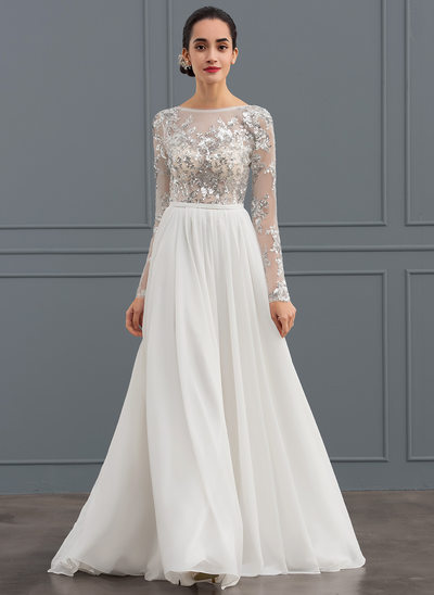 A-Line/Princess Scoop Neck Sweep Train Chiffon Tulle Wedding Dress