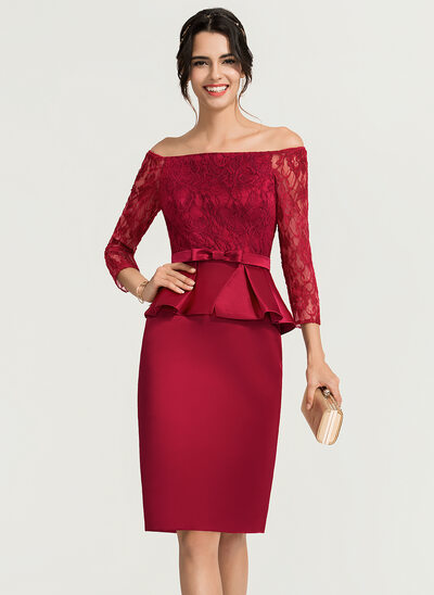Jakke Off-shoulder Knælængde Satin Cocktailkjole