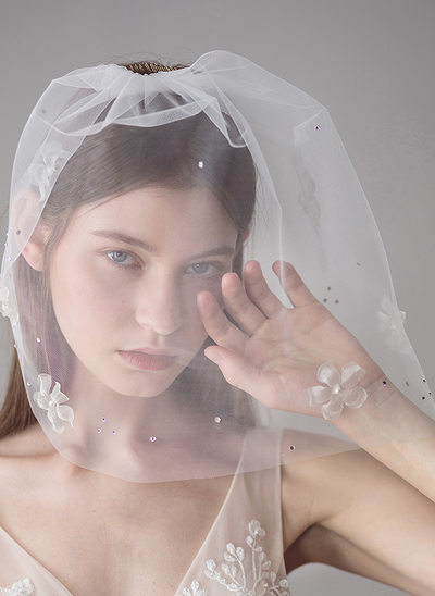 One-tier Blusher Veils With Embroidery