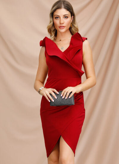 Sheath/Column V-neck Asymmetrical Cocktail Dress With Ruffle
