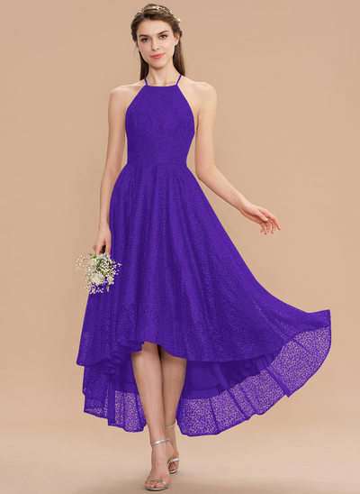 A-Line Scoop Neck Asymmetrical Lace Bridesmaid Dress With Bow(s)
