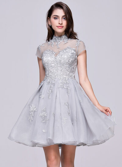 A-Linie/Princess-Linie High Neck Kurz/Mini Organza Abiballkleid mit Applikationen Spitze