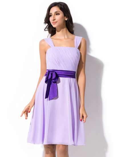 A-Line/Princess Knee-Length Chiffon Bridesmaid Dress With Ruffle Sash Bow(s)