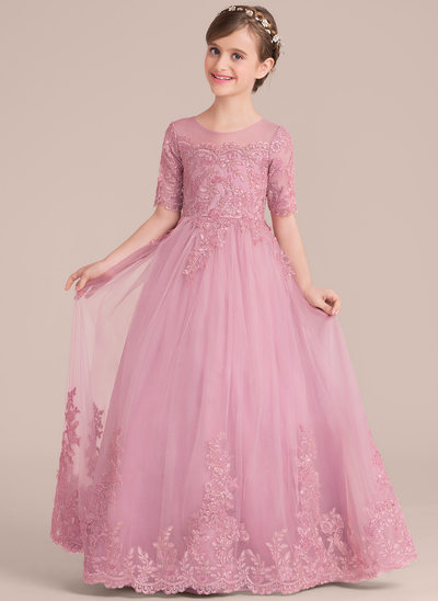 Scoop Neck Floor-Length Tulle Lace Junior Bridesmaid Dress With Sequins