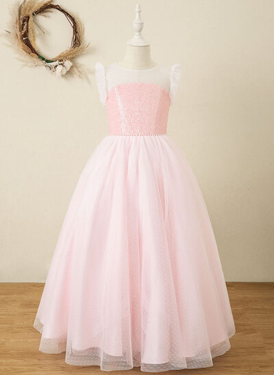 A-Line Floor-length Flower Girl Dress - Tulle/Sequined Sleeveless Scoop Neck With Beading/Bow(s)