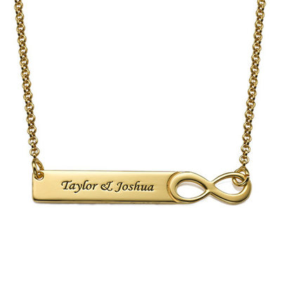 Christmas Gifts For Her - Custom 18k Gold Plated Silver Infinity Engraving/Engraved Two Bar Necklace