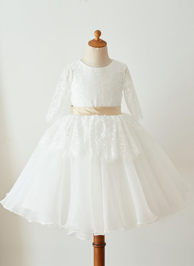 Princesový Po kolena Flower Girl Dress - Organza/Krajka Dlouhé rukávy Scoop Neck S Šerpy