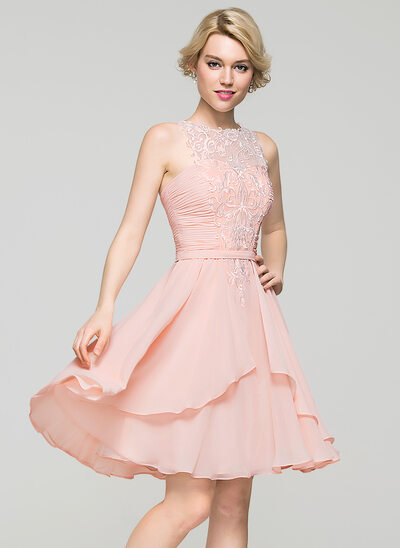 A-Line/Princess Scoop Neck Knee-Length Chiffon Homecoming Dress With Cascading Ruffles