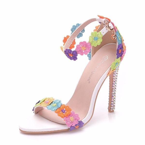 Donna Similpelle Tacco a spillo Sandalo Stiletto Piattaforma Punta aperta con Applicazione Fibbia scarpe