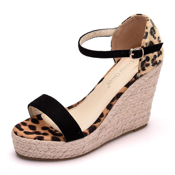 Women's Leatherette Wedge Heel Sandals Wedges With Buckle Animal Print Split Joint shoes