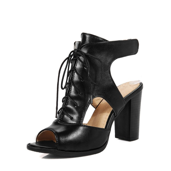 Women's Leatherette Chunky Heel Sandals Pumps Peep Toe Ankle Boots With Lace-up Hollow-out Velcro shoes