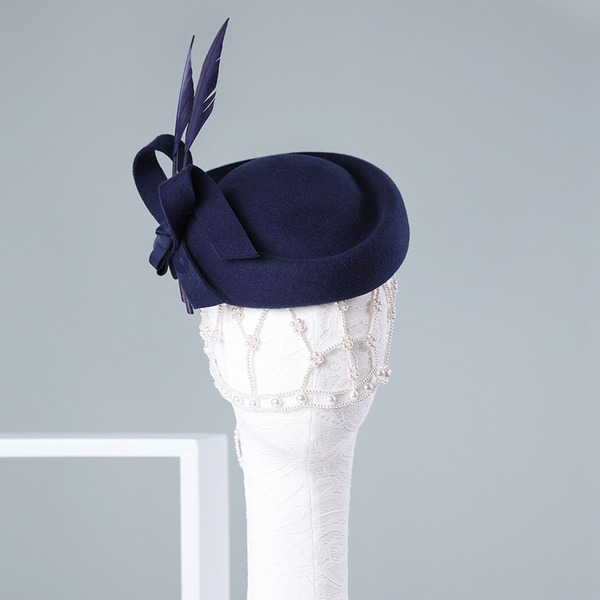 Ladies' Beautiful/Special/Elegant Wool With Feather Beret Hat