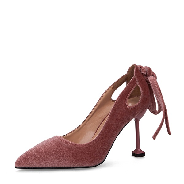Women's Suede Spool Heel Pumps Closed Toe With Bowknot shoes
