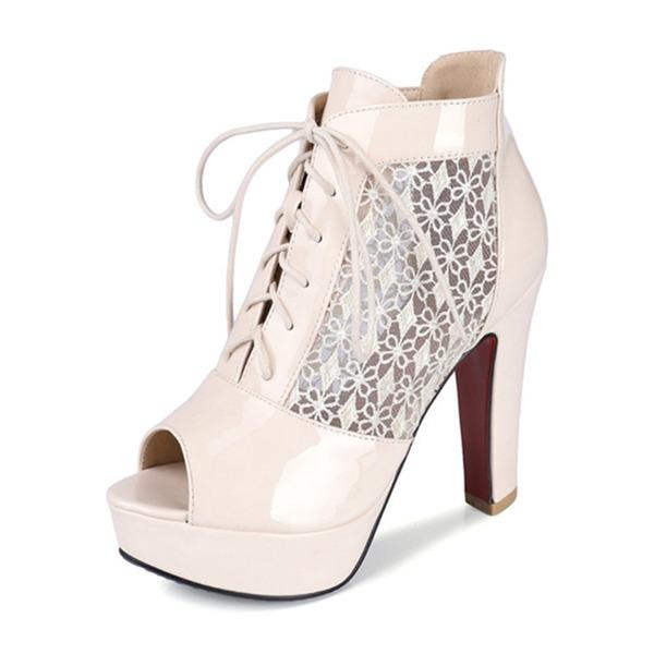 De mujer Caucho PVC Tacón ancho Salón Plataforma Encaje con Cordones zapatos
