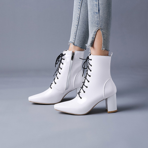 Women's Patent Leather Chunky Heel Pumps Boots Mid-Calf Boots With Zipper Lace-up shoes