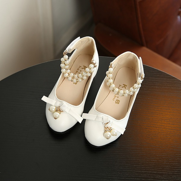 Girl's Round Toe Leatherette Sparkling Glitter Flower Girl Shoes With Bowknot Pearl