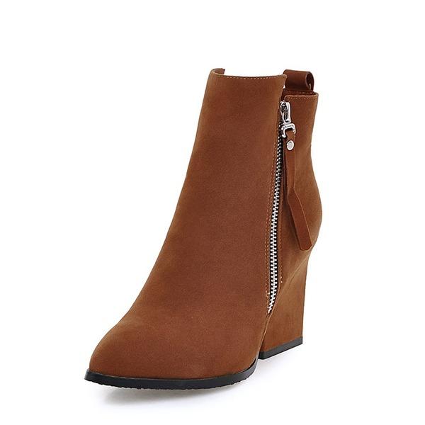 Donna Camoscio Tacco spesso Stiletto Stivali Stivali altezza media con Cerniera scarpe