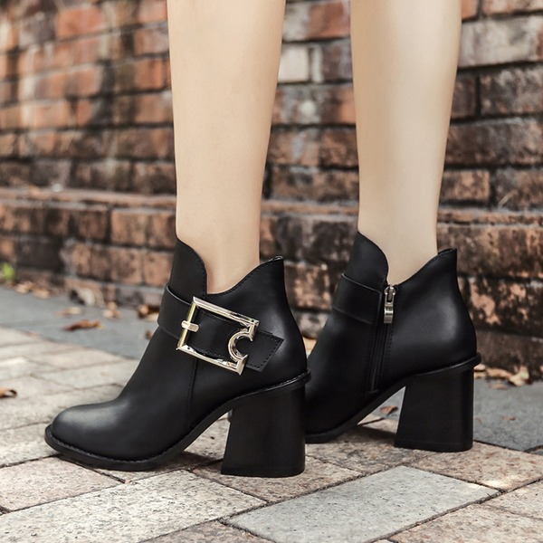 Women's PU Chunky Heel Boots Ankle Boots With Buckle Zipper shoes