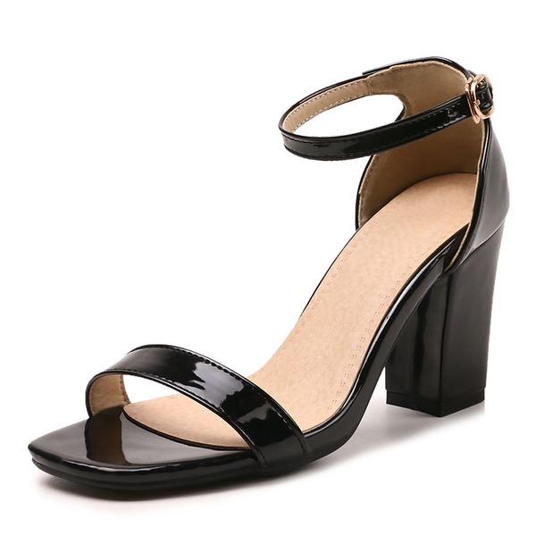 Naisten Kiiltonahka Chunky heel Sandaalit Avokkaat Peep toe jossa Solki kengät