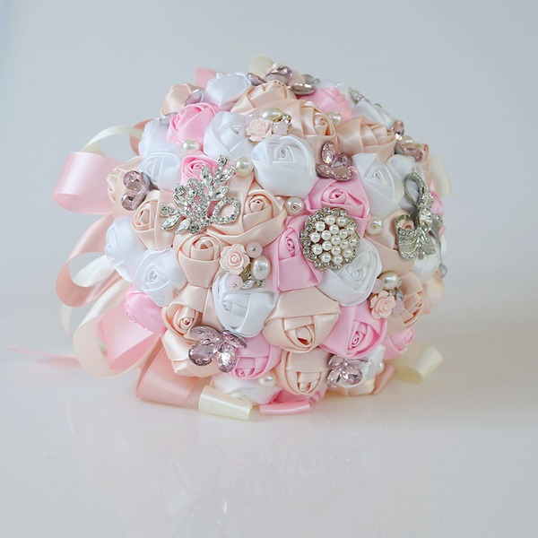 Round Satin Bridal Bouquets (Sold in a single piece) - Bridal Bouquets