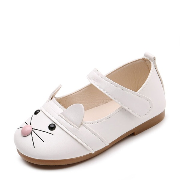 Girl's Round Toe Leatherette Flat Heel Flats Flower Girl Shoes With Velcro Animal Print