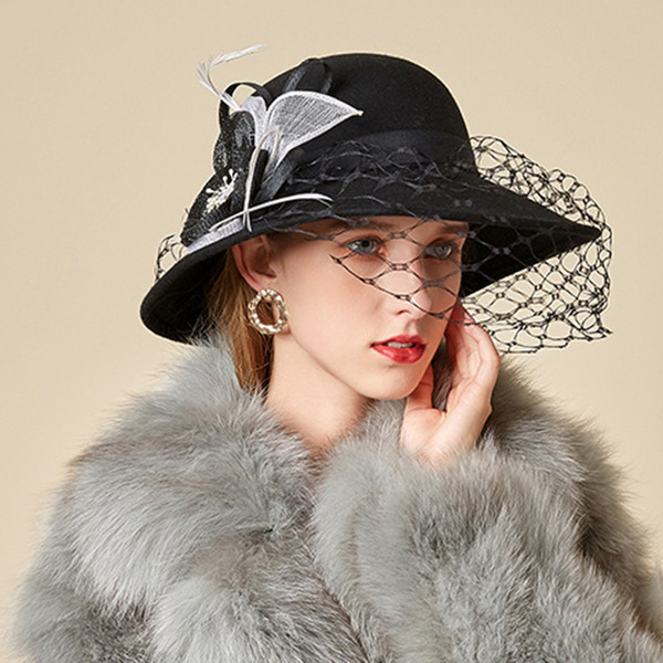 Ladies' Glamourous/Charming/Romantic Wool With Feather/Tulle Bowler/Cloche Hats