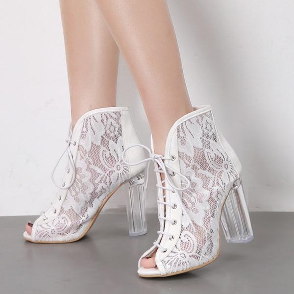 Frauen Lace Stämmiger Absatz Absatzschuhe Stiefel Peep Toe Stiefelette mit Zuschnüren Schuhe