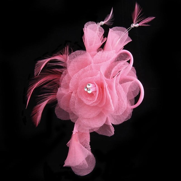 Unique Sunflower Crystal/Organza/Feather Boutonniere (Sold in a single piece) - Boutonniere