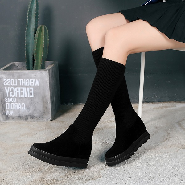 Women's Suede Flat Heel Flats Platform Boots Knee High Boots With Others shoes