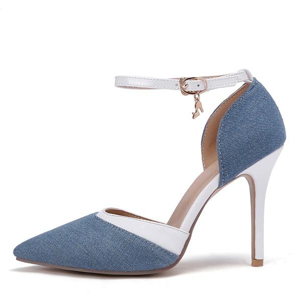 Женщины кожа Жан Высокий тонкий каблук Сандалии На каблуках Закрытый мыс обувь