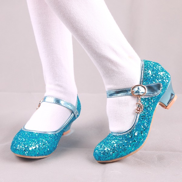 Flicka rund tå Stängt Toe konstläder sparkling blänker låg klack Platta Skor / Fritidsskor Flower Girl Shoes med Spänne
