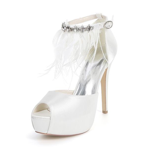 Женщины шелка как атласное Высокий тонкий каблук Платформа На каблуках с перо горный хрусталь