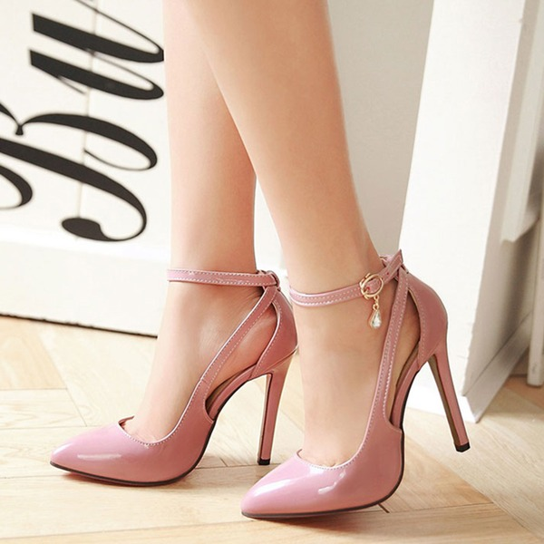 Women's Leatherette Stiletto Heel Sandals Pumps Closed Toe With Rhinestone Hollow-out shoes