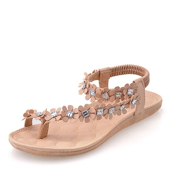 Donna Similpelle Senza tacco Sandalo Ballerine Punta aperta Con cinturino con Applicazione scarpe
