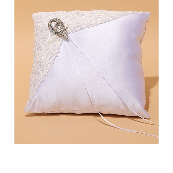Square Ring Pillow in Satin/Lace With Ribbons/Rhinestones