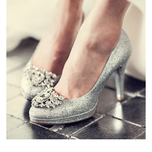 Kvinnor Glittrande Glitter Stilettklack Stängt Toe Plattform Beach Wedding Shoes med Strass