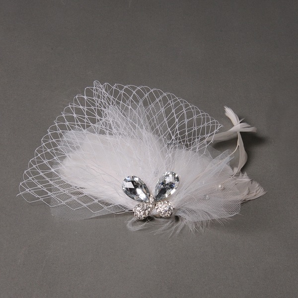 Elegant Rhinestone/Alloy/Feather/Tulle Fascinators/Flowers & Feathers