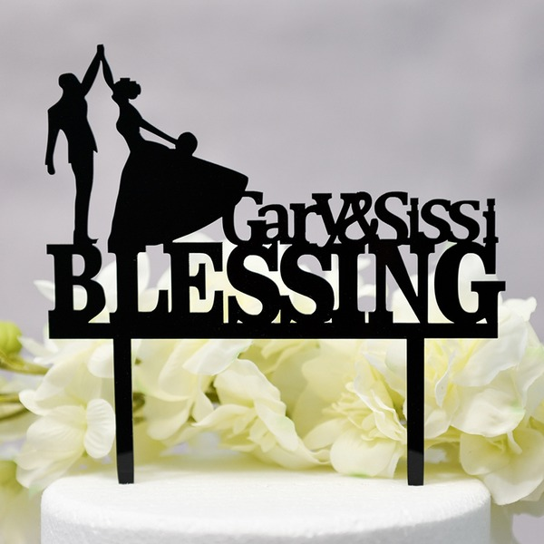Personalized Mr. & Mrs. Acrylic Cake Topper (Sold in a single piece)