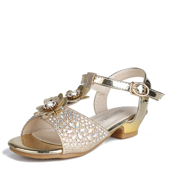 Jentas Titte Tå Slingback Leather Flower Girl Shoes med Spenne