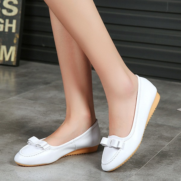 Women's Microfiber Leather Flat Heel Flats Closed Toe With Bowknot shoes