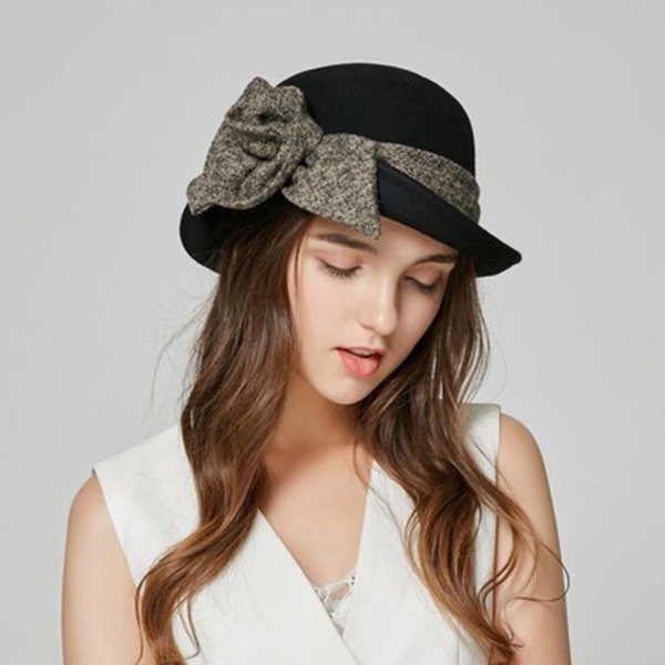 Ladies ' Elegant Uld med Bowknot Bucket Hat
