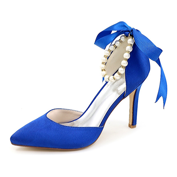 Women's Satin Stiletto Heel Closed Toe Pumps With Bowknot Imitation Pearl