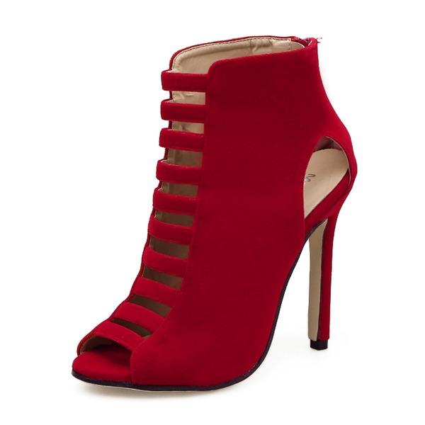 Kvinnor Mocka Stilettklack Sandaler Pumps Stövlar Peep Toe Boots med Zipper skor