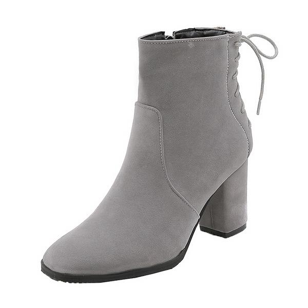 Kvinner Semsket Stor Hæl Pumps Støvler Mid Leggen Støvler med Blondér sko