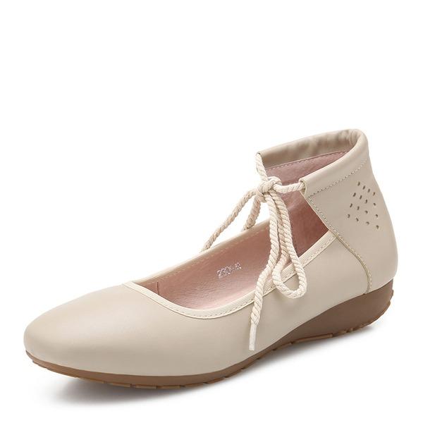 Vrouwen Microfiber leer Flat Heel Flats Closed Toe schoenen