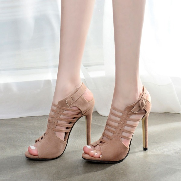Women's Suede Stiletto Heel Sandals Flats Peep Toe With Buckle Hollow-out shoes